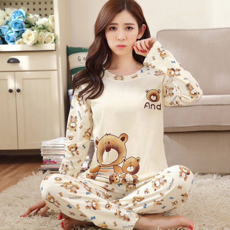Beige Teddy Bear Long Sleeve Two-Piece Pajamas Women's Qmilch Spring And Autumn Thin Students-Outer Wear Pajamas