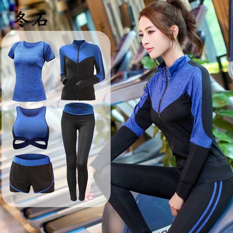 Neue Frauen Yoga Kleidung 5 Stück Mädchen Yoga-Sets 3 Stück Workout Sets Fitness Kleidung Lauftrainingsanzug Plus Größe Jogging strumpfhosen