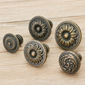 2 шт. антикварные ручки, круглые бронзовые ручки для кухонного шкафа, ящика, дверных ручек, мебельная фурнитура
