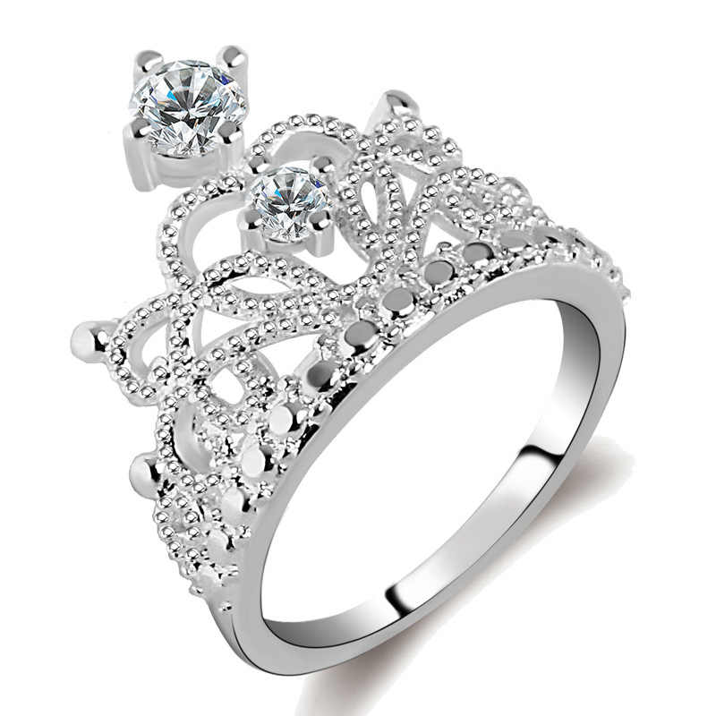 Best Gift Princess Crown 925 Sterling Sliver AAA CZ Rings Jewelry Austrian Crystal love Heart Engagement Wedding Rings For Women