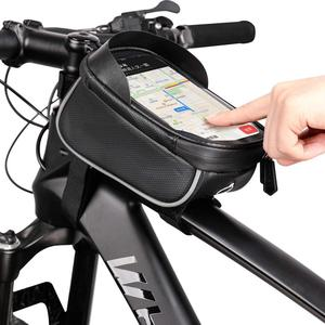 Image 5 - الدراجة دراجة للماء هاتف محمول حقيبة حامل MTB الجبهة إطار كيس أنبوب حالة 6.0 بوصة المعطف السرج حقيبة دراجة
