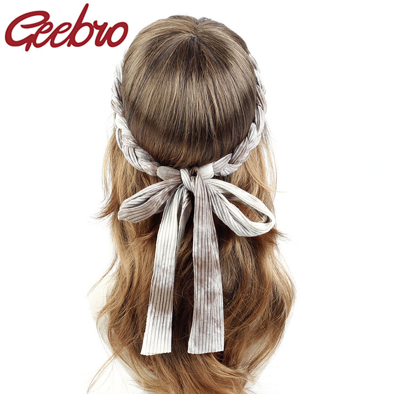 Geebro Women Ribbed Braid Headband Tie Dyeing Hair Accessories 2019 New Ladies Denim Boho Hair Ties Hairband Turban Christmas