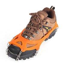 19 зубы стали Спайк лед захват для обуви против скольжения пешие прогулки восхождение обуви Шипы захваты скобы бутсы цепи когти захваты сапоги