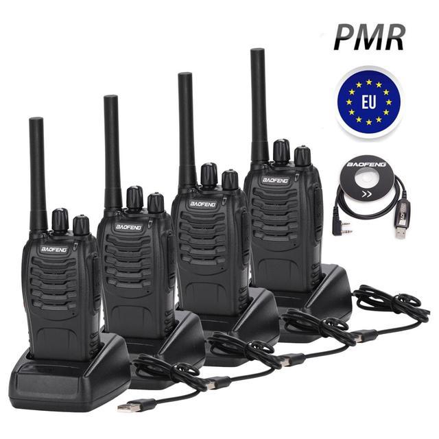 4PCS BF 88E PMR Baofeng 446 Walkie Talkie 0.5 W UHF 446 MHz 16 CH Presunto Handheld Two way rádio com Carregador USB DA UE para O Usuário