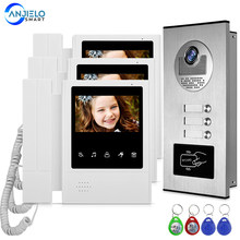 Thuis 4.3 ''Tft Wired Video Intercom Deurbel Systeem Rfid Camera Met 2/3/4 Monitor Deurintercom Voor Multi Appartement em Key Unlock