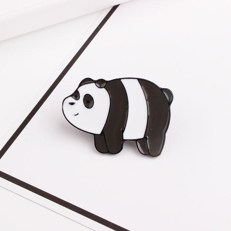 Булавка в виде животных из мультфильма голые медведи Милая гризли панда ледяной медведь джинсовые эмалированные булавки Kawaii нагрудные броши значки модные подарки - Окраска металла: XZ1384