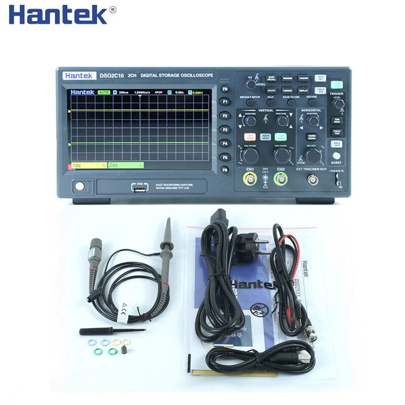 Цифровой осциллограф Hantek DSO2C10 2C15 2D10 2D15 2 канала 100 МГц/150 МГц, осциллограф с частотой дискретизации 1 Гвыб/с