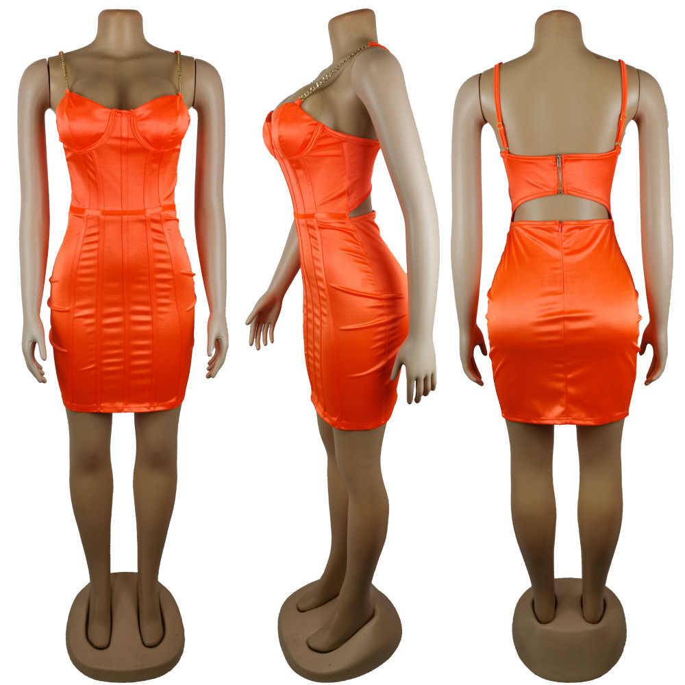 Kryptographische Satin Chian Staps Ärmel Mini Kleid Party Club Sexy Backless Zipper Kleid Bodycon 2020 Frühling Sommer Sommerkleid
