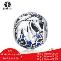 Jiayiqi Neue Sammlung 925 Sterling Silber Licorne Funkelnden Stern Perlen Fit Charme Armbänder Halsketten DIY Schmuck Zubehör