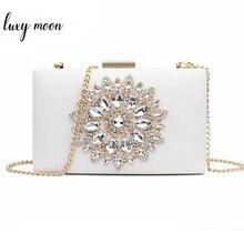 Białe kobiety kopertówka ślubna torebka z uchwytem wieczór ślubny kryształowe torby letnie dla kobiet 2020 luksusowe małe torby typu Crossbody ZD1333