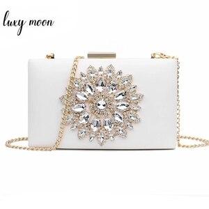Image 1 - White Women Clutch Bag Wedding Clutch Purse Bridal Evening Crystal Summer Bags for Women 2020 Luxury Small Crossbody Bags ZD1333