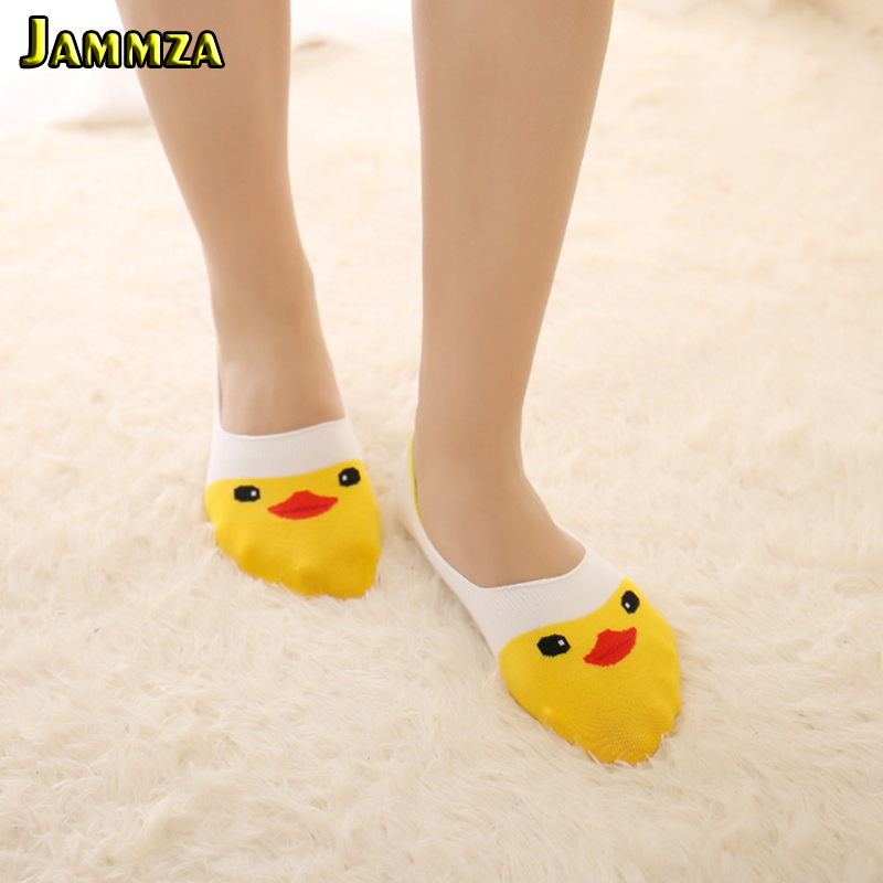 Women Cute Korea Fashion Socks Animal Cartoon Sock Slippers Kawaii Little Yellow Duck Invisible Silica Gel Smart Cotton Pink Sox