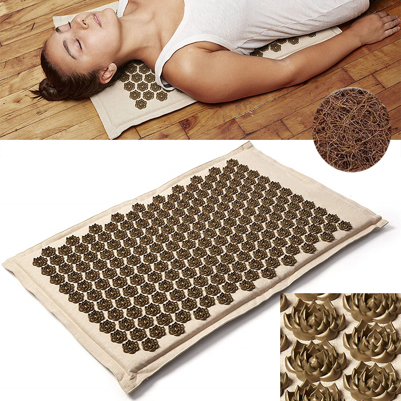 (SHOP NOW) Natural Organic Linen Acupuncture Mat Lotus Spike Massage Pad Cushion Yoga Mat Back/Neck/ Pain Relief Therapy 75*44cm
