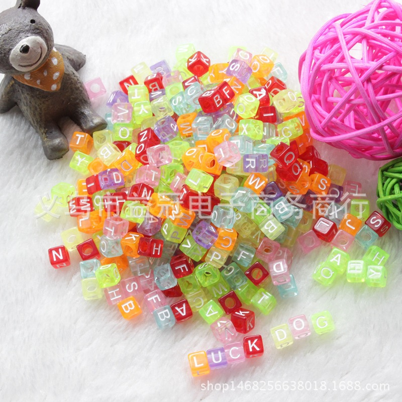 DIY Children Beaded Bracelet Transparent Color Bottom With Large Hole White Word Square Alphabet Beads 6 Mm Plastic Acrylic Lett