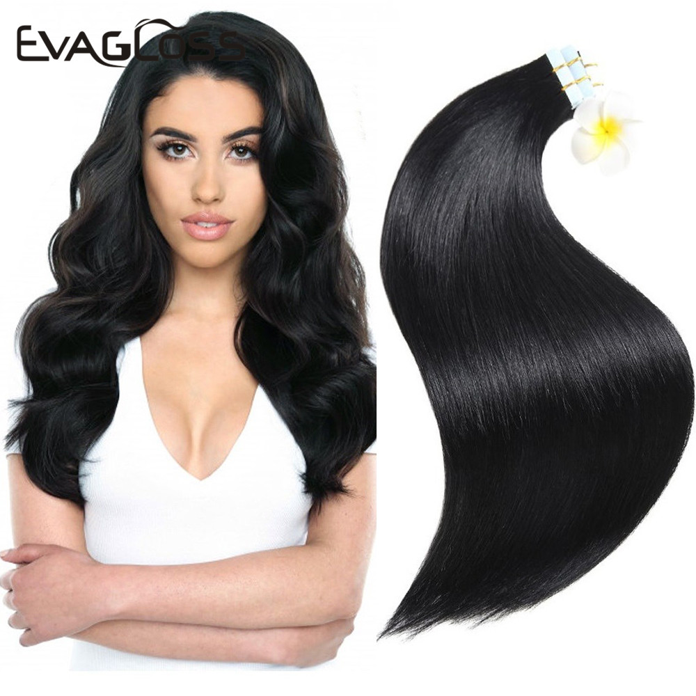 EVAGLOSS Skin Weft Real Remy Tape In Human Hair Extension 10pcs 20pcs 40pcs Adhesive Tape In Hair Extensions 12