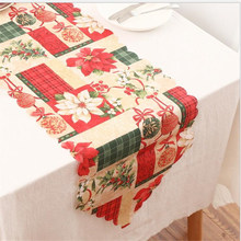 1PC New Year Christmas Tablecloth Mat Kitchen Dining Christmas Table Runner Flag Home Party Decorative Santa Claus Covers Table