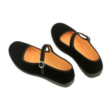 Shoes Loafers Janes Black Casual Flats Footwear Buckle-Strap Fabric Comfort Female Autumn