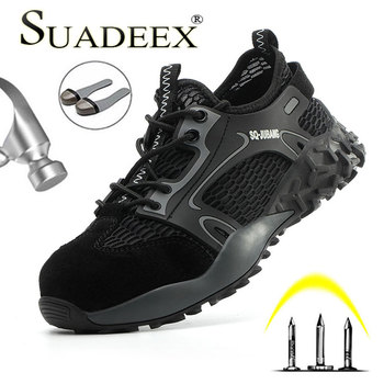 SUADEEX Breathable Safety Work Shoes Boots For Men Anti-Smashing Steel Toe Cap Shoes Indestructible Safety Boots Work Sneakers steel toe boots breathable safety shoes men s lightweight summer anti smashing piercing work fashion shoes 2018 men