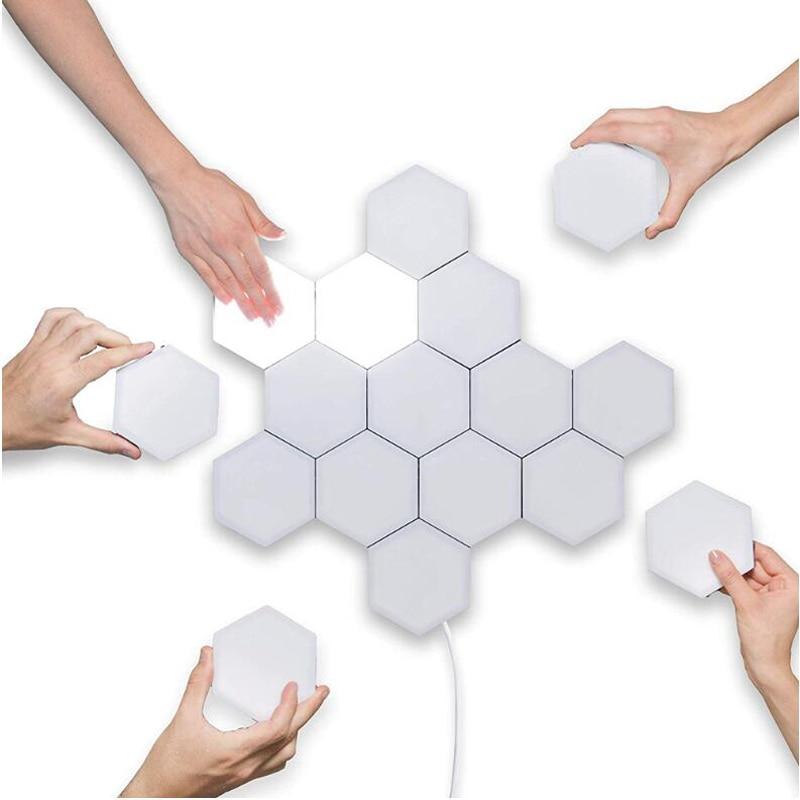 1-10PCS Touch Sensitive Lighting Lamp Hexagonal Lamps Quantum Lamp Modular LED Night Light Hexagons Creative Decoration Lamp