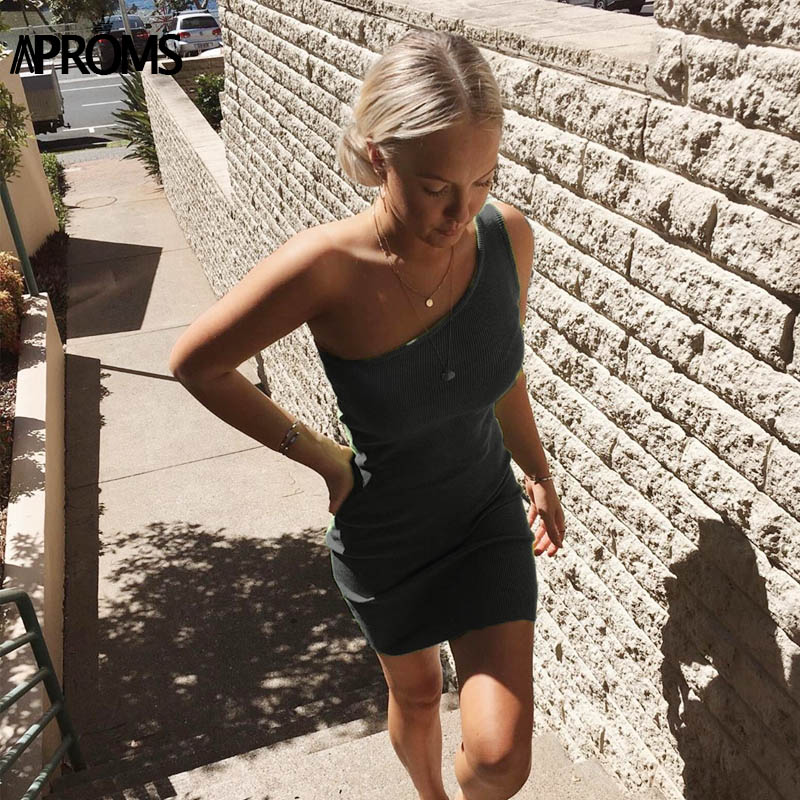 Aproms One Shoulder Ribbed Knitted Summer Dress Women Sexy Sleeveless Bodycon Mini Dresses Club Party Sundresses Vestidos 2020 3