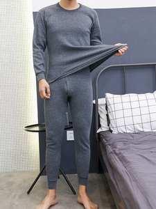 Clothing-Set Underwear-Suit Winter Large-Size 2pcs Men's Pants Warm Top Circular-Collar