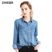 11.11 Autumn Winter Women Denim Basic Shirt Loose Casual Long Sleeve With 2 Pockets 100% Cotton Washed Blue Female Blouse Top(China)