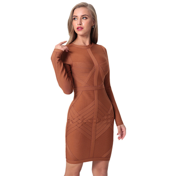 2020 New Arrival Bandage Dress Women Long Sleeve O-Neck Sexy Night Out Club Celebrity Evening Party Bodycon Dress Women Vestidos image