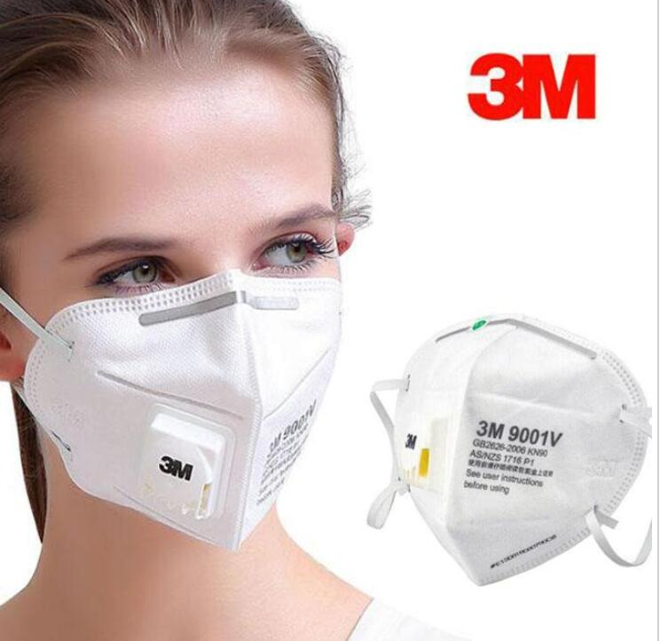 3M 9001V Masks With Valve PM2.5 Ear Band Particulate Respirator Dust Mask With Cool Flow Valve Breathable Mask FFP2 KN95 Mask