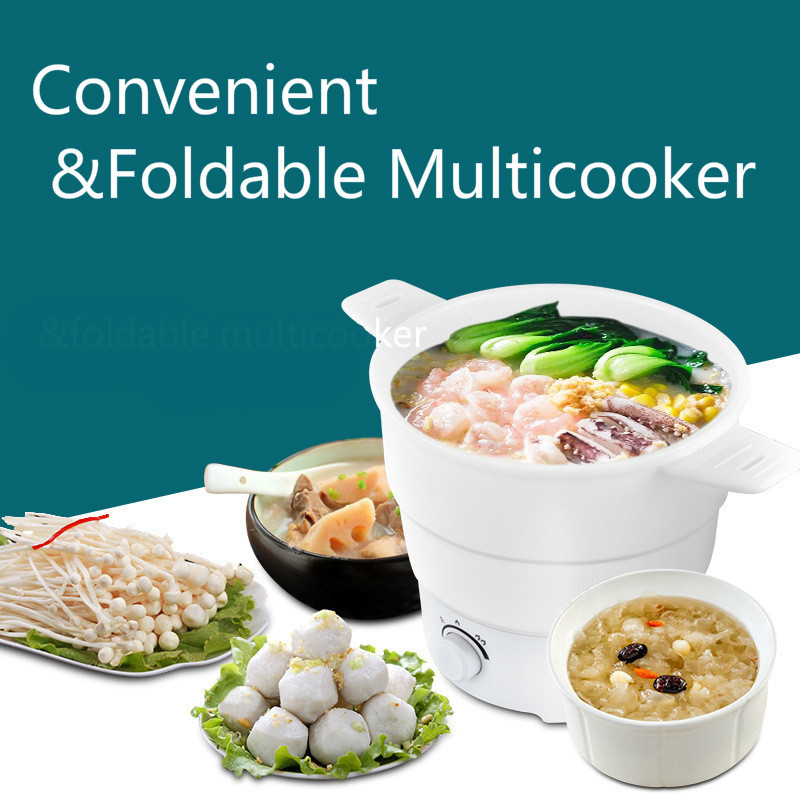 Folding Multifunction Electric Skillet Stainless Hotpot Noodles Rice Cooker Egg Steamer Soup Cooking Pot Travel Electric Cooker