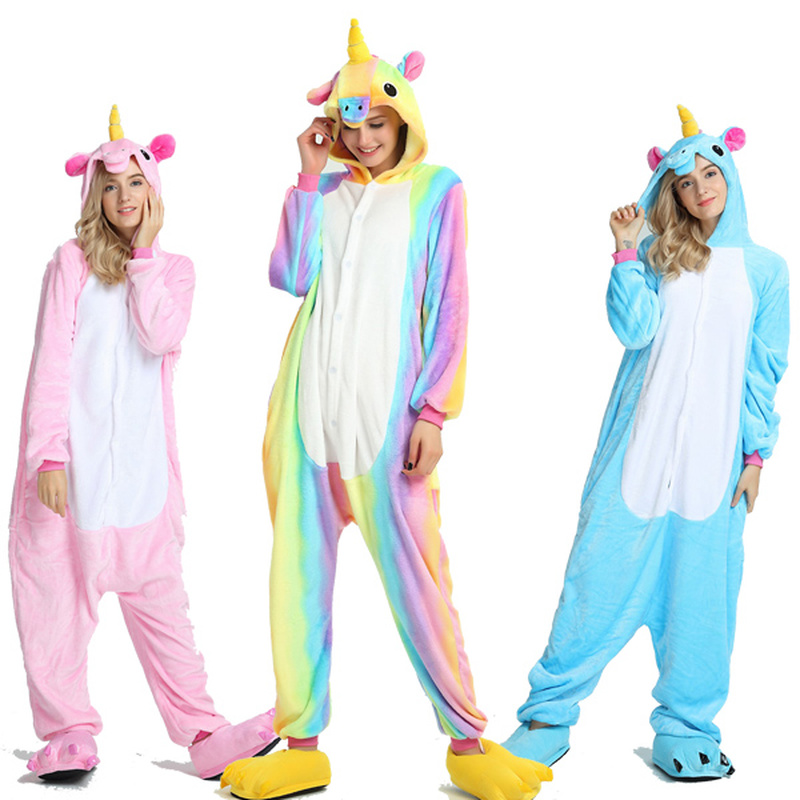 Adult Kigurumi Onesie Men Women Unicorn Sleepwear Pajama Soft Fancy Anime Unicornio Pijima Overall Animal Nightwear