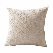 Funda de cojín bordada Beige Vintage Floral estilo marroquí funda de almohada 50x50cm para sofá cama silla coche decoración del hogar