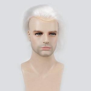 """Image 5 - Cabello humano para hombre peluquín de encaje francés de repuesto para hombres Peluca de piel fina europeo cabello Remy 613 Color rubio 10 """"x8"""" esewigs"""