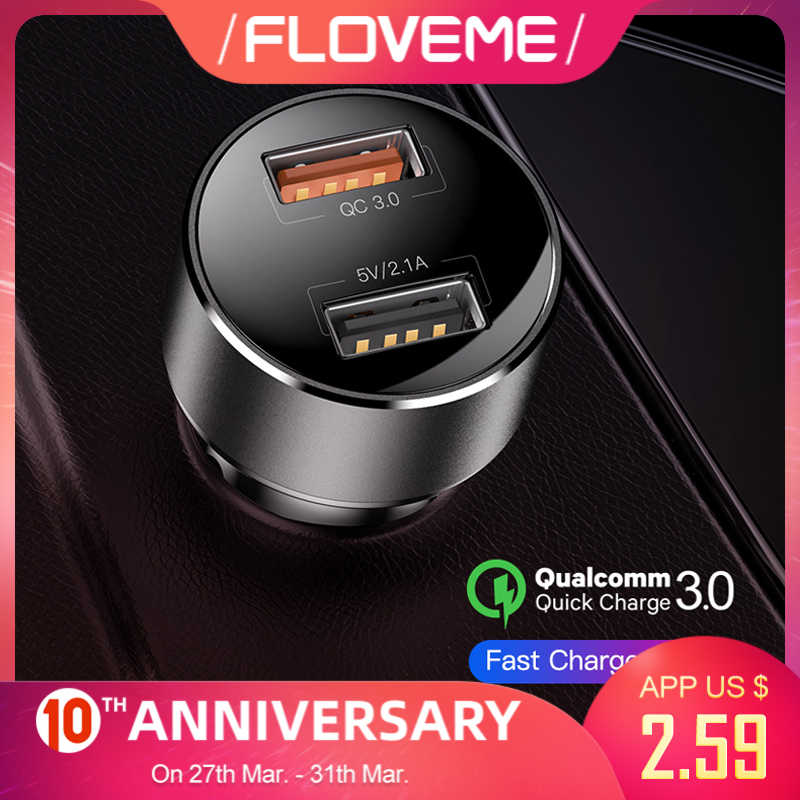 Floveme Quick Charge 3.0 Autolader 18W QC3.0 Dual Usb Car Charger Voor Iphone Sigarettenaansteker Snelle Auto Telefoon charger Adapter