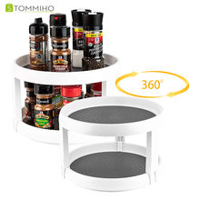 STOMMIHO Kitchen Organizer 360 Degree Rotating Food Storage Tray Spice Rack Pantry Cabinet Lazy Susan Turntable