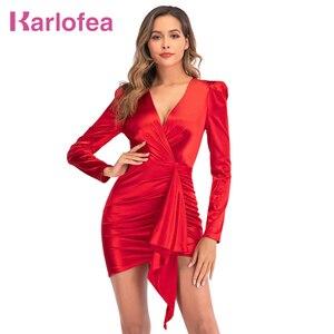 Karlofea novo cetim vermelho envoltório mini vestido feminino sexy decote em v roupas do vintage vestido chique drape clube festa vestidos elegante aniversário