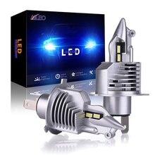 Aileo lâmpada para farol automotivo h4, led, h4, para carro/motocicleta, feixe alto e feixe baixo, foco 80w 12v 24v 6000k led