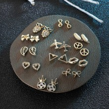 12 Pairs/set Female Cute Leaf Bow Owl Stud Earrings Mix For Women Fashion Gold Alloy Rhinestone Small Earring Set Girls Gifts leaf design earring set with rhinestone