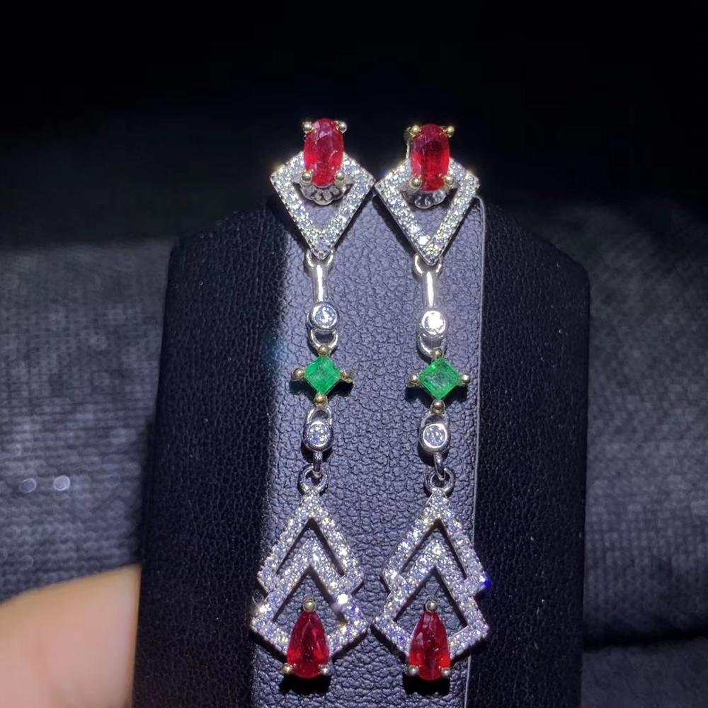 elegant red ruby green emerald stud earrings for women silver fine jewelry real natural gem 925 sterling silver girlfriend gift