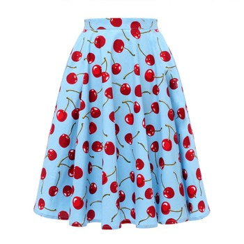 Autumn High Waist Skirts Cotton Womens Polka Dot Print Retro Vinatge Swing Pinup Skirt Rockabilly 50s Retro Vintage Jupe Femme 2