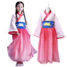 DISNEY Mulan Princess Dress For Girls 3-8T Chinese Traditional Costumes Hanfu Kids Ancient Clothing Suits Children Dress Up Sets(China)