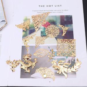 Złoty motyl smok pozostawia żywicy epoksydowej formy cienkie miedziane wypełnienia DIY biżuteria