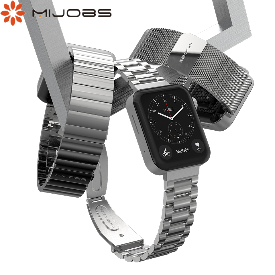 Mijobs For Xiaomi Watch Strap Metal Wrist For Mi Band Strap Stainless Steel Wrist Strap Closure Strap Stainless Steel