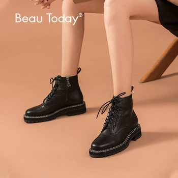 BeauToday Ankle Boots Women Genuine Cow Leather Lace-Up Slide Zip Round Toe Lady Fashion Boots Winter Shoes Handmade 03446