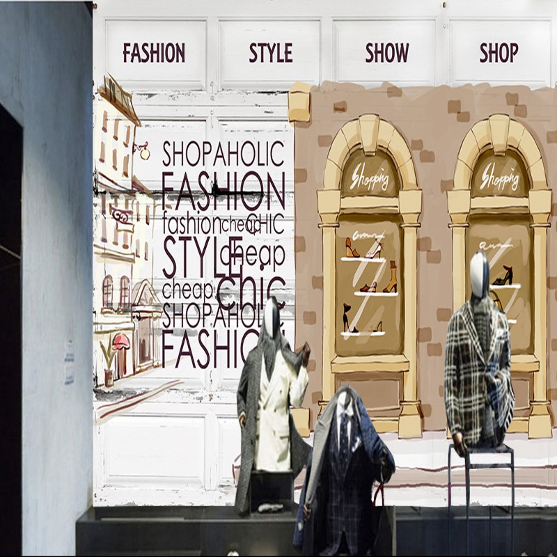 Drop Shipping Custom 3D Photo Wallpaper Fashion Retro Clothing Shop Background Wall Mural Living Room Shopping Mall Wallpaper