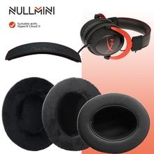Nullmini substituição de earpads para hyperx cloud ii headphones headband earmuff couro veludo manga headset