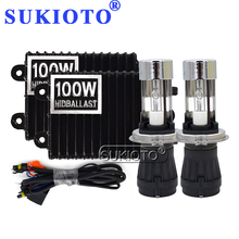 SUKIOTO High Power 12V 100W H4 HiLo HID Xenon Bulb Kit HID Slim Digital Ballast Ignition H4 3 Bi Xenon Headlight Kit Car Syling