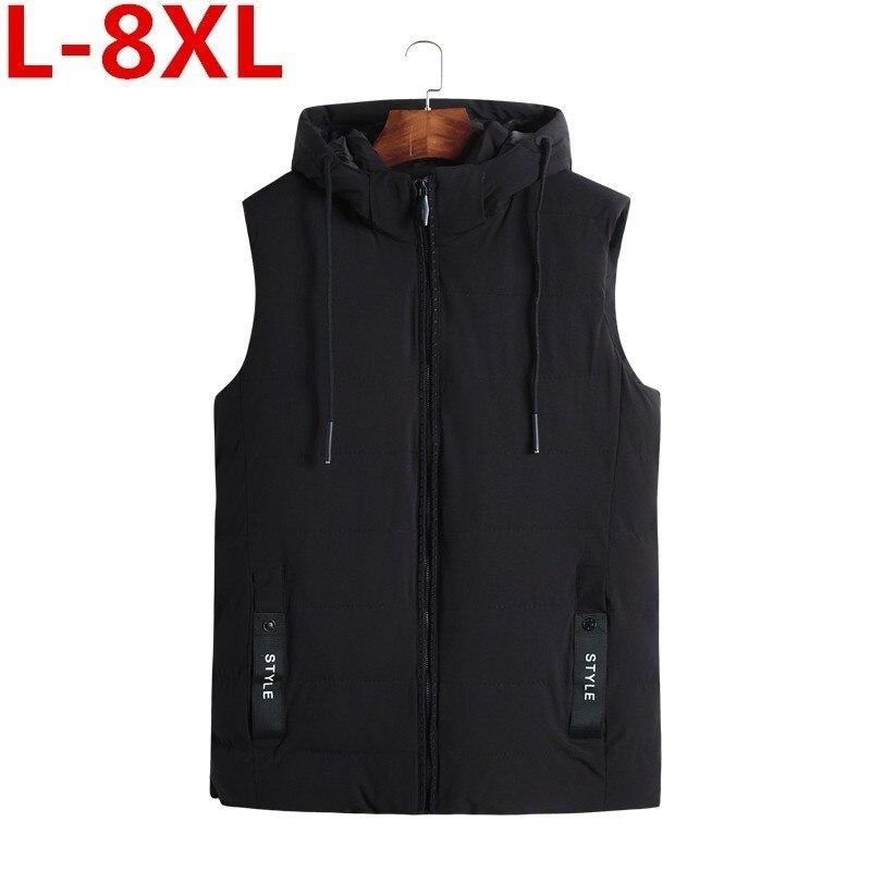 New Plus Size 8XL 7XL Autumn Winter Men Coat Warm Sleeveless Jacket Casual Men Vest Coat Waistcoat Ultra Light Down Vest Men