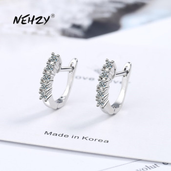 NEHZY 925 sterling silver new women fashion jewelry high quality crystal zircon earrings hot sale retro simple hollow