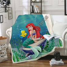 Kids Anime Mermaid 3D Blanket Fleece Cartoon princess Print Children Warm Bed Throw Blanket newborn bayby Gril Blanket style 020