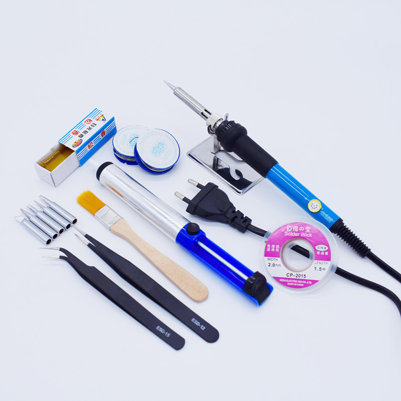 110V/220V 60W Electric Soldering Iron Adjustable Temperature Solder Station With Iron Tip Stand Solder Wire Repair Tool Kit